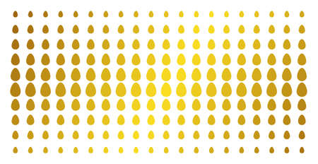 Egg icon gold colored halftone pattern. Vector egg symbols are organized into halftone array with inclined gold color gradient. Constructed for backgrounds, covers, templates and abstract effects.