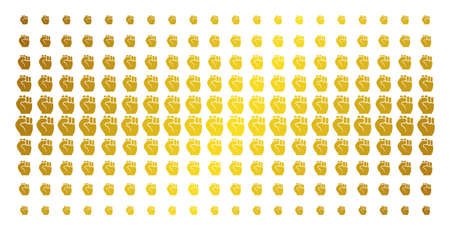 Fist icon gold colored halftone pattern. Vector fist items are organized into halftone array with inclined gold color gradient. Constructed for backgrounds, covers, templates and luxury effects.