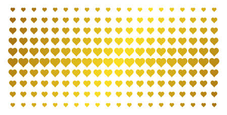 Heart icon golden halftone pattern. Vector heart objects are organized into halftone array with inclined gold color gradient. Designed for backgrounds, covers, templates and abstract effects. Illustration