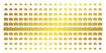Photo camera icon gold colored halftone pattern. Vector photo camera symbols are arranged into halftone array with inclined golden gradient. Constructed for backgrounds, covers, Illustration