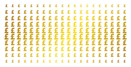 Pound Sterling icon gold colored halftone pattern. Vector Pound Sterling items are organized into halftone array with inclined golden gradient. Constructed for backgrounds, covers, Ilustração