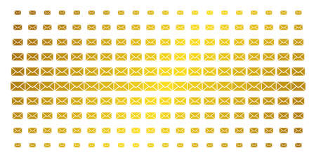 Mail envelope icon golden halftone pattern. Vector mail envelope items are arranged into halftone array with inclined gold color gradient. Constructed for backgrounds, covers,