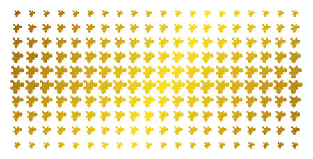 Plugin icon gold halftone pattern. Vector plugin items are arranged into halftone array with inclined gold gradient. Constructed for backgrounds, covers, templates and abstract effects.