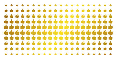 Thumb up icon gold halftone pattern. Vector thumb up shapes are organized into halftone array with inclined golden gradient. Designed for backgrounds, covers, templates and bright concepts.