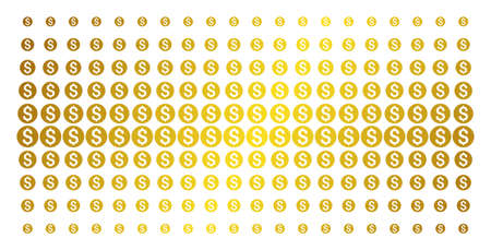 Dollar coin icon gold halftone pattern. Vector dollar coin pictograms are organized into halftone array with inclined gold color gradient. Designed for backgrounds, covers,