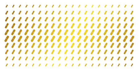 Pill icon golden halftone pattern. Vector pill pictograms are organized into halftone grid with inclined gold color gradient. Constructed for backgrounds, covers, templates and luxury compositions. Ilustração