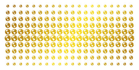 Earth icon golden halftone pattern. Vector Earth pictograms are organized into halftone matrix with inclined gold color gradient. Designed for backgrounds, covers, templates and abstract effects. Illustration