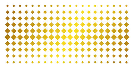 Filled rhombus icon gold colored halftone pattern. Vector filled rhombus shapes are arranged into halftone grid with inclined gold color gradient. Designed for backgrounds, covers, Ilustrace