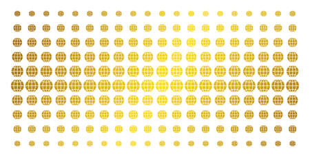 Globe icon gold colored halftone pattern. Vector globe objects are organized into halftone grid with inclined golden gradient. Constructed for backgrounds, covers, templates and luxury effects. Illustration