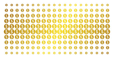 Money icon golden halftone pattern. Vector money shapes are arranged into halftone array with inclined gold gradient. Constructed for backgrounds, covers, templates and bright effects.