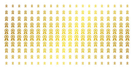 Certificate seal icon gold halftone pattern. Vector certificate seal items are organized into halftone array with inclined golden gradient. Designed for backgrounds, covers,