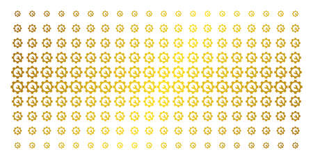 Service tools icon gold colored halftone pattern. Vector service tools pictograms are organized into halftone grid with inclined gold color gradient. Constructed for backgrounds, covers,
