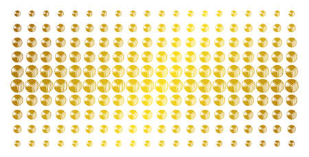 Pie chart icon gold colored halftone pattern. Vector pie chart symbols are organized into halftone array with inclined golden gradient. Constructed for backgrounds, covers,