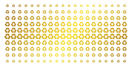 Recycle arrows icon golden halftone pattern. Vector recycle arrows pictograms are organized into halftone matrix with inclined gold gradient. Constructed for backgrounds, covers,