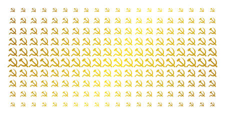 Sickle and hammer icon gold colored halftone pattern. Vector sickle and hammer shapes are arranged into halftone grid with inclined gold gradient. Constructed for backgrounds, covers,
