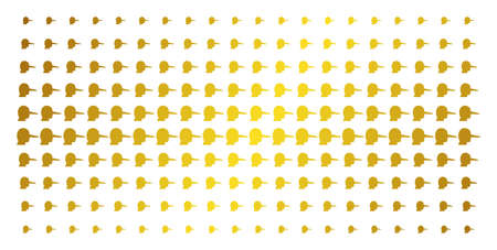 Lier icon golden halftone pattern. Vector lier shapes are arranged into halftone grid with inclined golden gradient. Constructed for backgrounds, covers, templates and bright effects.