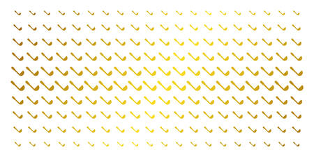 Scoop icon gold halftone pattern. Vector scoop shapes are organized into halftone matrix with inclined golden gradient. Constructed for backgrounds, covers, templates and abstract concepts.
