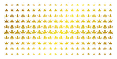 Octopus icon golden halftone pattern. Vector octopus symbols are arranged into halftone array with inclined gold color gradient. Constructed for backgrounds, covers, templates and bright effects.