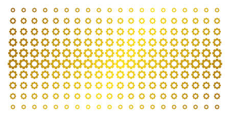 Gear icon gold colored halftone pattern. Vector gear symbols are arranged into halftone matrix with inclined golden gradient. Constructed for backgrounds, covers, templates and bright concepts.