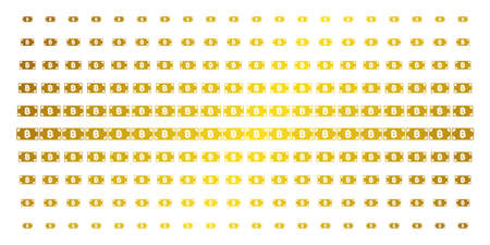 Bitcoin cash banknote icon golden halftone pattern. Vector Bitcoin cash banknote objects are organized into halftone matrix with inclined golden gradient. Constructed for backgrounds, covers, Illustration