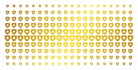 Guard icon gold colored halftone pattern. Vector guard pictograms are organized into halftone matrix with inclined golden gradient. Designed for backgrounds, covers, templates and abstract effects.
