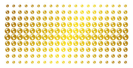 Earth icon gold colored halftone pattern. Vector Earth objects are organized into halftone matrix with inclined golden gradient. Designed for backgrounds, covers, templates and luxury compositions. Illustration