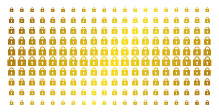 Lock icon golden halftone pattern. Vector lock pictograms are organized into halftone matrix with inclined gold gradient. Constructed for backgrounds, covers, templates and luxury concepts.