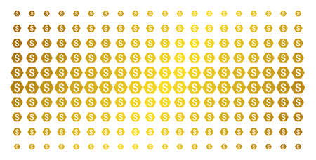 Finance icon gold colored halftone pattern. Vector finance items are arranged into halftone array with inclined gold gradient. Designed for backgrounds, covers, templates and luxury effects.