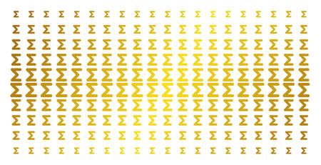 Sum icon golden halftone pattern. Vector sum symbols are arranged into halftone matrix with inclined gold gradient. Designed for backgrounds, covers, templates and bright effects.