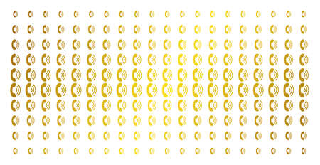 Phone ring icon gold halftone pattern. Vector phone ring objects are organized into halftone matrix with inclined gold color gradient. Designed for backgrounds, covers, templates and abstract effects.
