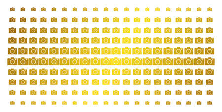 Camera icon gold colored halftone pattern. Vector camera shapes are arranged into halftone grid with inclined golden gradient. Constructed for backgrounds, covers, templates and bright compositions.