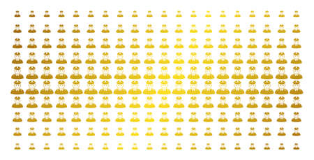 Army general icon golden halftone pattern. Vector army general objects are organized into halftone grid with inclined golden gradient. Constructed for backgrounds, covers,