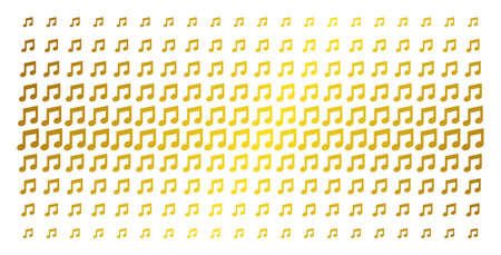 Music notes icon gold colored halftone pattern. Vector music notes pictograms are arranged into halftone matrix with inclined gold color gradient. Constructed for backgrounds, covers,