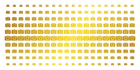 Photo camera icon gold colored halftone pattern. Vector photo camera pictograms are arranged into halftone grid with inclined gold gradient. Constructed for backgrounds, covers,
