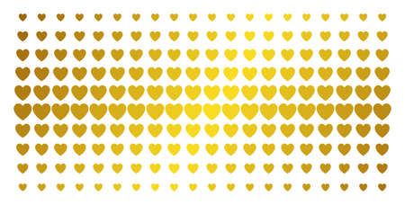 Love heart icon golden halftone pattern. Vector love heart items are arranged into halftone matrix with inclined gold color gradient. Constructed for backgrounds, covers, templates and luxury effects.