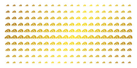 Ambulance car icon golden halftone pattern. Vector ambulance car objects are arranged into halftone grid with inclined golden gradient. Designed for backgrounds, covers, Illustration