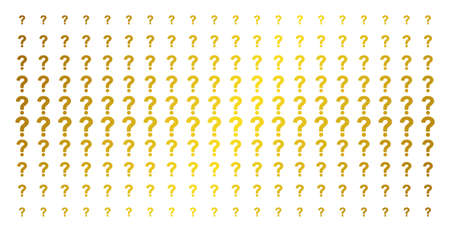Question icon gold colored halftone pattern. Vector question objects are arranged into halftone matrix with inclined golden gradient. Constructed for backgrounds, covers, Illustration
