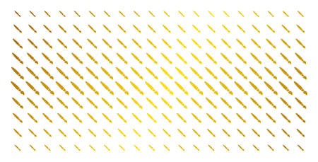 Brush icon gold halftone pattern. Vector brush items are arranged into halftone grid with inclined gold color gradient. Designed for backgrounds, covers, templates and bright effects. Illustration