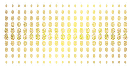 Fingerprint icon gold halftone pattern. Vector fingerprint shapes are organized into halftone matrix with inclined gold gradient. Constructed for backgrounds, covers,