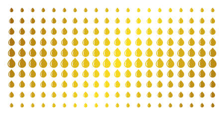Drop icon golden halftone pattern. Vector drop symbols are arranged into halftone grid with inclined gold gradient. Constructed for backgrounds, covers, templates and beautiful compositions.