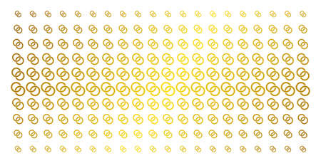 Wedding rings icon golden halftone pattern. Vector wedding rings items are arranged into halftone matrix with inclined golden gradient. Constructed for backgrounds, covers,