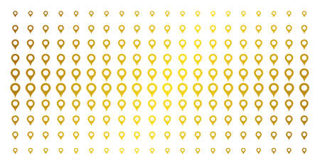 Map marker icon golden halftone pattern. Vector map marker pictograms are arranged into halftone matrix with inclined gold color gradient. Constructed for backgrounds, covers,