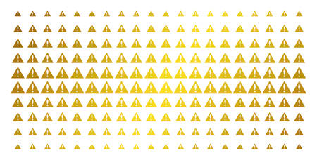 Warning icon gold halftone pattern. Vector warning symbols are arranged into halftone array with inclined gold gradient. Designed for backgrounds, covers, templates and bright effects. Ilustração