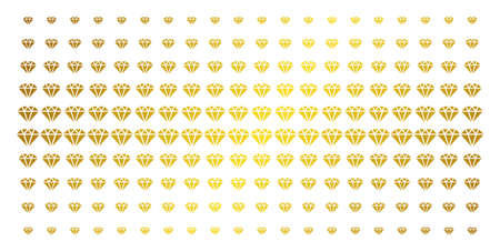 Diamond icon gold halftone pattern. Vector diamond items are organized into halftone matrix with inclined gold gradient. Constructed for backgrounds, covers, templates and beautiful effects.