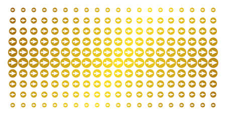 Rounded arrow icon gold colored halftone pattern. Vector rounded arrow objects are arranged into halftone array with inclined golden gradient. Constructed for backgrounds, covers,