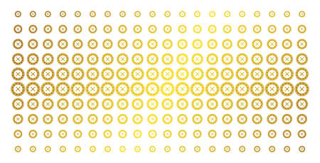 Roulette icon golden halftone pattern. Vector roulette pictograms are arranged into halftone grid with inclined gold gradient. Constructed for backgrounds, covers, templates and bright effects. Illustration