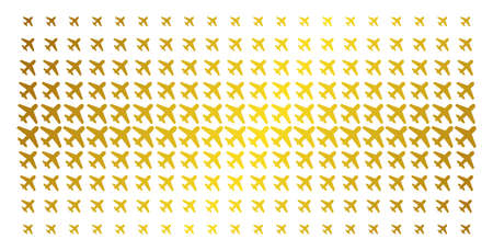 Airplane icon gold halftone pattern. Vector airplane pictograms are organized into halftone grid with inclined golden gradient. Constructed for backgrounds, covers, templates and beautiful concepts.