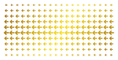 Arrow left icon golden halftone pattern. Vector arrow left shapes are organized into halftone grid with inclined gold gradient. Designed for backgrounds, covers, templates and abstract concepts. Illustration