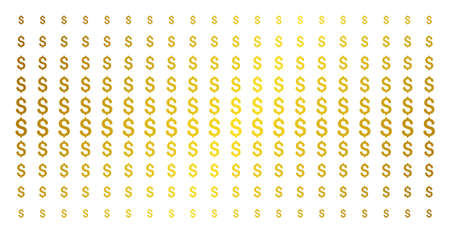 Dollar icon gold halftone pattern. Vector dollar shapes are arranged into halftone matrix with inclined golden gradient. Designed for backgrounds, covers, templates and abstract concepts.
