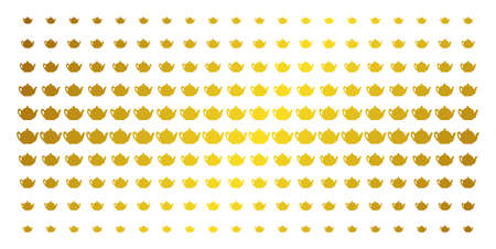 Teapot icon gold halftone pattern. Vector teapot pictograms are arranged into halftone matrix with inclined gold gradient. Designed for backgrounds, covers, templates and bright compositions. Illustration